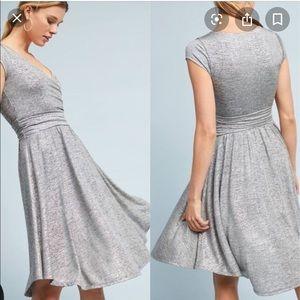 Anthropologie Maeve Silver Metallic Wrap Dress